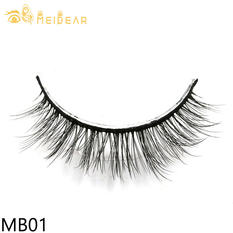 Distributor supply soft and natural 3d silk lashes with custom logo packaging box