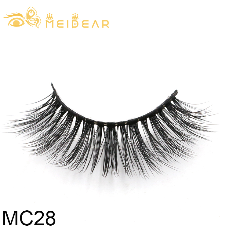 Wholesale fluffy and natural 3d silk eyelash with private label packaging box