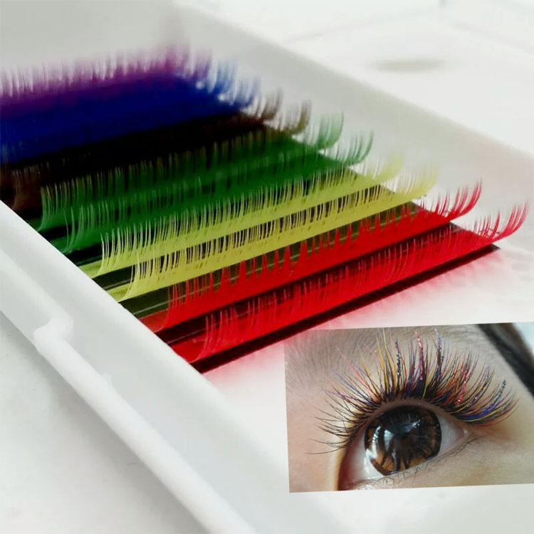 Colored Eyelash extension supplies manufacturers provide glamorous colored lash extensions