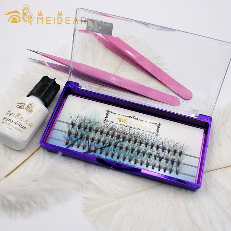 Multilayer Pre made fans eyelash C curl thickness 0.07 0.10mm with private label