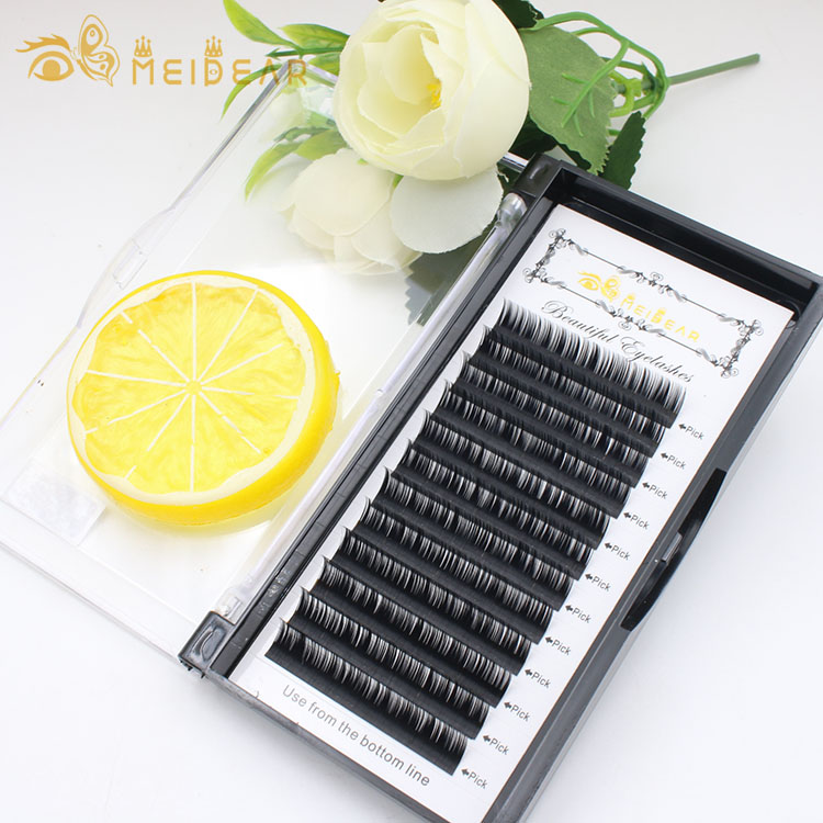 Eyelash manufacturer provide top quality silk eyelash extension with custom brand
