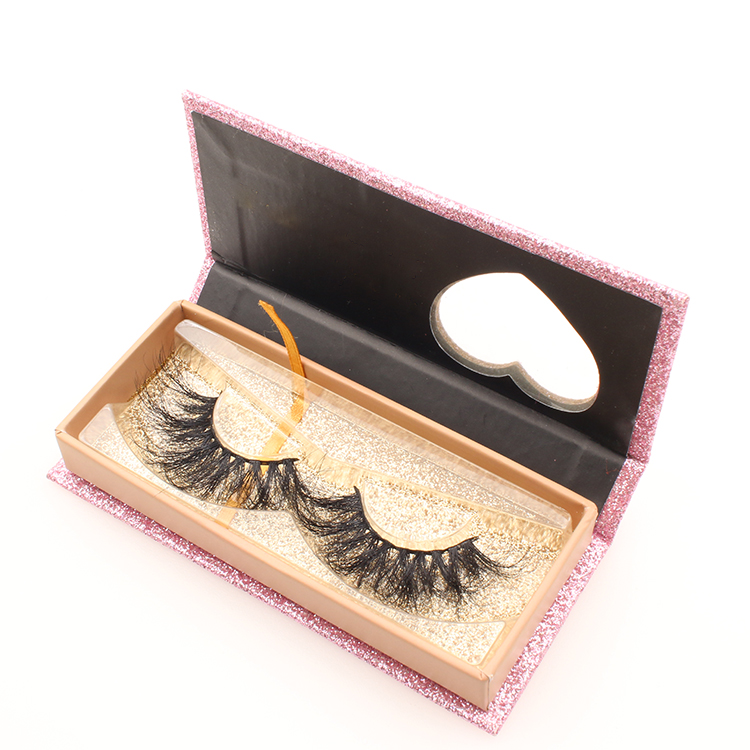 25mm long 5D mink fur fiber fake eyelashes with private label box to UK