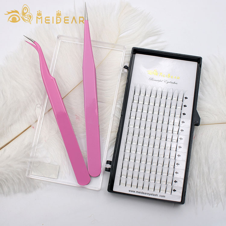 Best synthetic fiber russian prefan volume lash extension with customized private label packaging