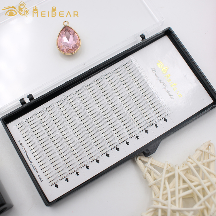 Manufacturer supply long stem pre-fanned volume eyelash extension with thickness 0.05 0.07 0.10 mm with customized boxes