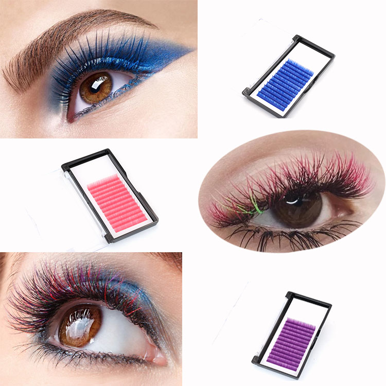 Eyelash manufacturer provide premium colored lashes extensions with private label