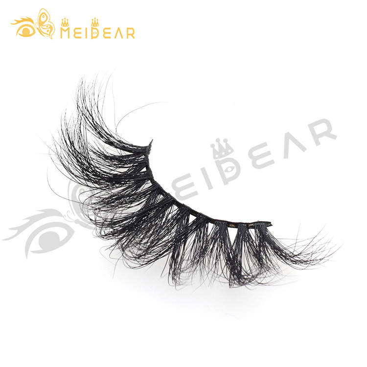 Dramatic 25mm 3D 5D mink strip lashes with custom logo packaging