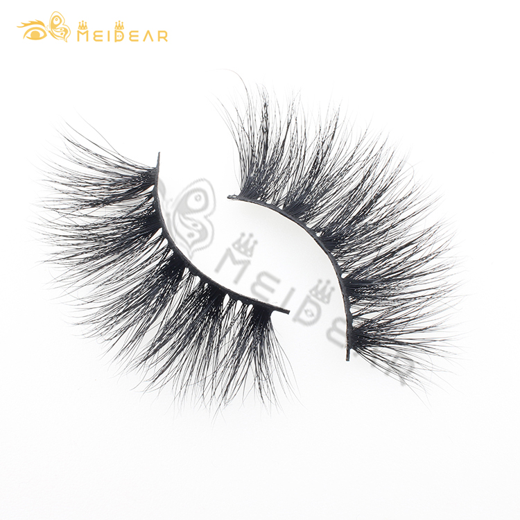 Eyelash wholesaler provide 3D real mink eyelashes 25mm lashes 100% handmade with custom eyelash packaging boxes BW
